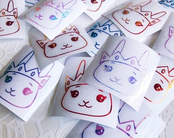 Holographic Vinyl Bunny Prince Decals Pink/Opal/Blue