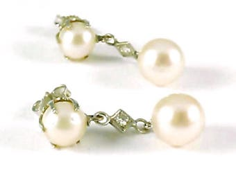Vintage Cultured Pearl Diamond 14k White Gold Pendant Earrings