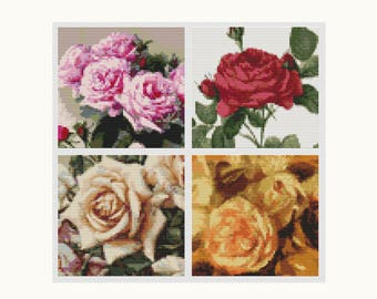 Rose Cross Stitch Kit, Cross Stitch, Embroidery Kit, Art Cross Stitch, Floral Cross Stitch, Four Squares featuring Roses