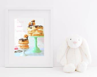 Donut Ever Grow Up Downloadable Art Print - Nursery Decor, Doughnut Printable, Donut Art, Instand Download, Typography, Dessert, Bakery Art