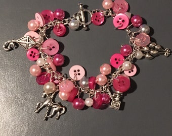 Pink and silver charm bracelet funfair charms casual