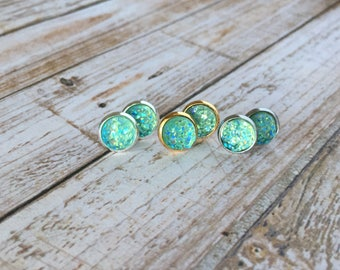 Mint Green Small Metallic Stud Earrings - Sparkly Earrings - Druzy Jewelry - Bling Earrings - Small Stud Earrings - Gifts For Her