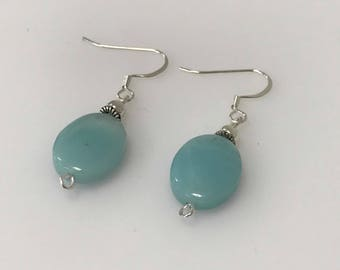 Handmade Sterling Silver Oval Amazonite Gemstone Drop Earrings