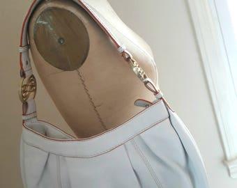 VINTAGE LANCEL HOBO White Pebble Leather Summer Handbag French Designer