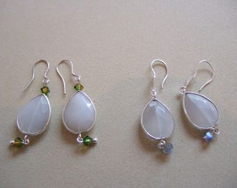 Sterling Silver White Moonstone Bezel Teardrop Dangle Earrings with Sterling Silver Hooks