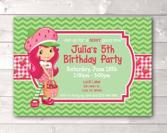 Strawberry Shortcake Inspired Birthday Invitation, Strawberry Shortcake Inspired Theme