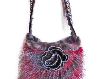 Unique Faux Ostrich Feather Fur Purse.  You have never seen anything like this plush, artsy purse!
