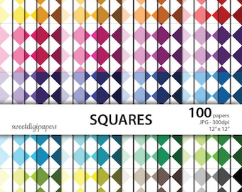 Rainbow squares digital paper pack, squares background, colors squares scrapbook, rhombus digital paper, instant download