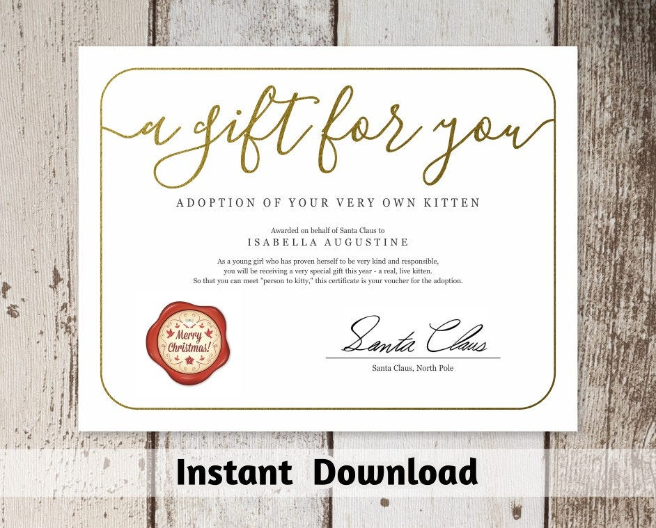 Gift Certificate from Santa Claus, Printable Christmas Gift ...