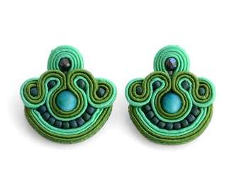Green stud earrings tropical green earrings handmade studs gift for her soutache earrings green fabric earrings with beads tropical trend