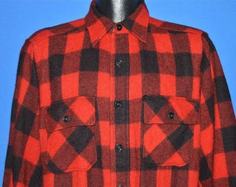 40s Winter King Checkered Wool Hunting Jacket shirt Large