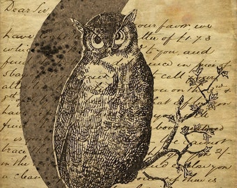 Owl Tags Antiqued Vintage Images Printable Instant Digital Download