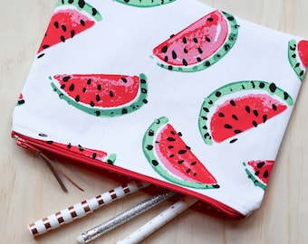 Watermelon pouch / clutch / pencil case with zip closure