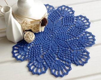 SALE 10% OFF: Crochet doily Blue lace doily Handmade cotton centerpiece Crochet doilies Crocheted doily Blue crochet doilies 10 inches 298