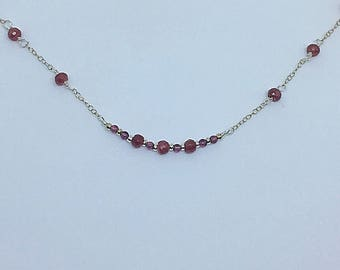 Rubies and garnet bead sterling silver necklace