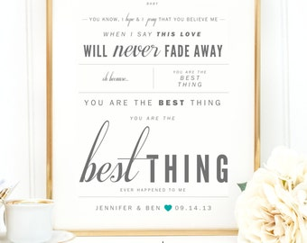 """Gray & Teal, Ray LaMontagne """"You Are The Best Thing"""" - Valentine's, Wedding Gift, Paper Anniversary Gift, Song Lyrics, Art Print"""