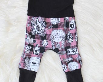 Pink Lumberjane Maxaloones/ Cloth Diaper Pants/ Grow With me Pants/ Pink Pants/ Wilderness/ Cotton Pants/ Baby Pants/ Baby Outfits/ Gift