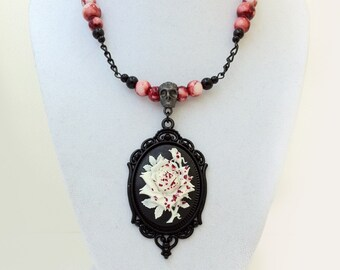 Rose Cameo Necklace Gothic Victorian Blood Horror Jewelry