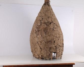 Antique Primitive  Old Handmade Woven Wicker, Bee skep