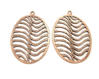 2 Oval Wavy Copper Pendant Antique Copper Pendant Antique Copper Plated Metal (53x36mm) G11515