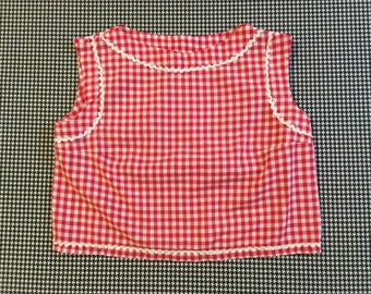 Red and white, gingham checked, ric rac trimmed, crop top, Women's size Small