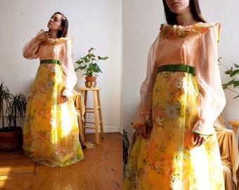 Vintage 1960s Orange Sherbert Floral Chiffon Overlay Dress Ruffle Collar Sheer Sleeves Velvet Texture Flower Skirt Details size Medium