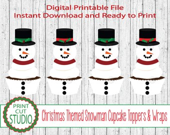 Christmas Seasonal Snowman Themed Cupcake Toppers - INSTANT DOWNLOAD - Printable Digital File - Christmas Dessert Table - Christmas Party