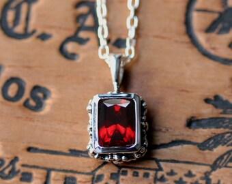 Silver garnet necklace vintage style, emerald cut garnet, january birthday gift garnet birthstone necklace red garnet necklace dainty flower