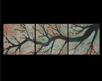 Cherry Blossoms Triptych Commission by Kristen Dougherty