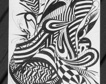 Original Abstract Pen and Ink Drawing