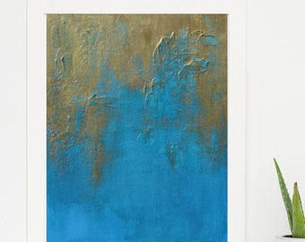Modern Textured Original Art Painting Turquoise Blue Gold Bronze Metallic Canvas Video Print Free USA Shipping Wall Hanging DIY Decorating