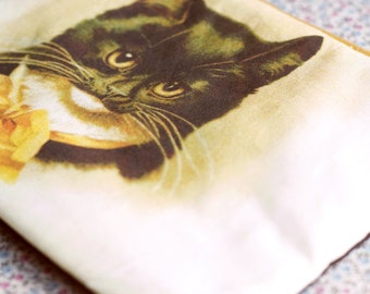 Cat purse, Cat wallet. Cat bag. Black cat zipper pouch. Cat lover gift. Kitty Pencil Case. Cat handbag. Cat illustration.Gift for cat lovers