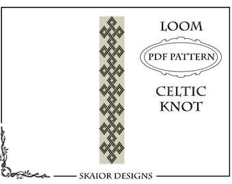 Loom Beading Pattern Celtic Knot Bracelet Cuff Geometric Seed Beads Black Gold White Loom Beaded Pattern Knotwork PDF