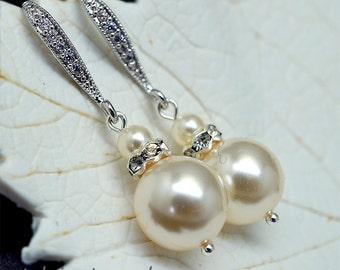 Drop Pearl Earrings, Small Bridal Earrings, Ivory Pearl Earrings, Wedding Earrings, Pearl Drop Earrings, Bridal Jewellery, Wedding Jewelry