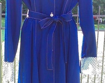 Vintage Country Miss Navy Blue Polyester Dress With Polka Dot Trim White Buttons and Belt 80s Dress Size 16 Vintage Dress