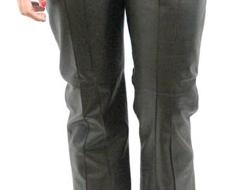 Dark Gray Leather Trousers, fully lined. Fall pants, winter pants, stylish leather pants, soft leather pants.