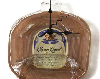 Crown Royal, Melted Crown Wall Clock, Melted Whisky Bottle, recycled Crown Royal Bottle, Fathers Day gift, groomsman gift, flat bottle