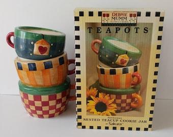 Debbie Mumm Nested Teacup Cookie Jar, Sakura 1998, Collectible, 12 X 9