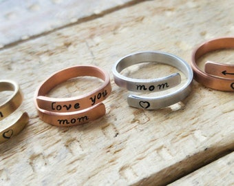 Gift for Mom spiral wrap ring / Three styles and metals to choose from / Mothers Day /