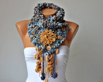 Neckwarmer Crochet scarf   ,scarf, woman scarf gift  ,knitting  scarf ,crochet scarf with removable flower brooch