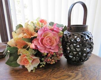 Brown wicker lantern candle holder