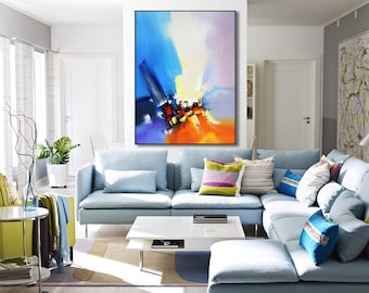Large abstract painting, Original modern canvas painting, Home decor canvas art, Wall Art, Abstract color