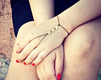 triangle slave bracelet, triangle hand chain, geometric bracelet, bracelet ring, ring bracelet, art deco