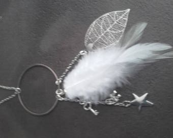 Women necklace metal chain silver, white feather on chain silver filigree leaf pendant, chain with
