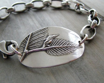 Beginnings, Personalized Fine and Sterling Silver Bracelet, Natural Plant Impressions, Leaves, Handmade by SilverWishes