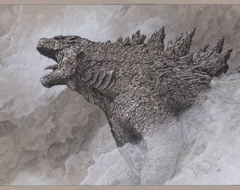 Godzilla pencil illustration A3 print