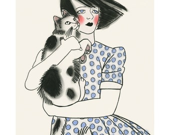 "Cat art -   Sidonie and Charles 8.3"" X 11.7"" print - 4 for 3 Sale"