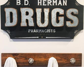 Wood sign- Personalized Sign - Wall Art - Apothecary - Bathroom Decor