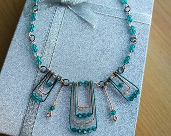 Teal and Copper Wire Necklace with Matching Swarovski Crystals - CWN1