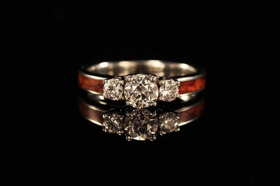 3 Stone Wooden Engagement Ring
